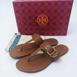 Tory Burch Marsden Leather Logo Thong Sandal Brown